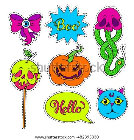 vector set of halloween cartoon