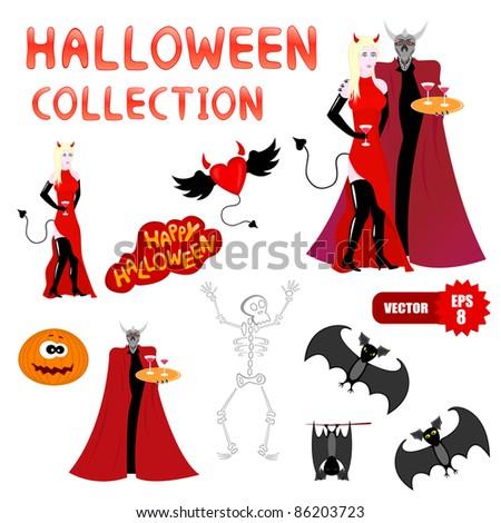 Vector set of halloween cartoon characters
