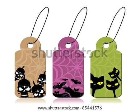 vector set of halloween concept tag with bat, skulls and cat background - stock vector