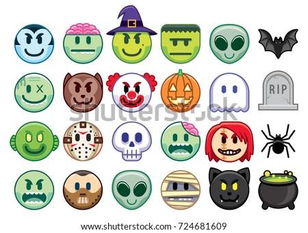vector set of halloween emojis
