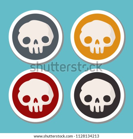 Vector set of Halloween icons stickers. On multi-colored stickers, the human skull.