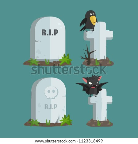 Vector set of Halloween icons with the image of tombstones. Tombstone RIP, Tombstone with a skull, Grave cross with a crow sitting on it, a tomb cross with a vampire bat.