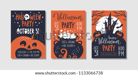 Vector set of Halloween party invitations or greeting cards with handwritten calligraphy and traditional symbols. - Shutterstock ID 1133066738