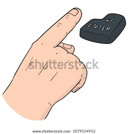 vector set of hand and enter button