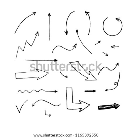 Vector set of hand drawn arrows. Different types of arrows.