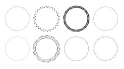 Vector set of hand drawn beautiful round floral frames in black color isolated on white background. Romantic decoration elements for wedding invitations, gift cards, banners. Cute botanical wreaths.