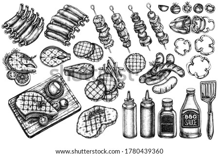 Vector set of hand drawn black and white spatula, Pork ribs, kebab, sausages, steak, sauce bottles, grilled burger patties, grilled tomato, grilled salmon steak, grilled bell pepper