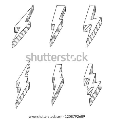 Vector Set of Hand Drawn Black Sketch Thunder Bolt Symbol