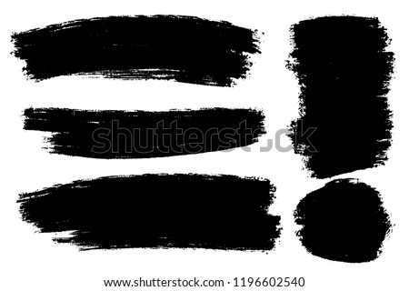 Vector set of hand drawn brush strokes, stains for backdrops. Monochrome design elements set. One color monochrome artistic hand drawn backgrounds.