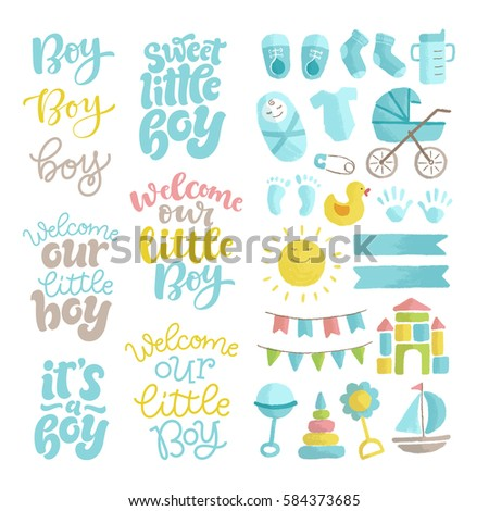Vector set of hand drawn calligraphy and illustrations. Lettering set for invitation and greeting card, prints and posters. Graphic elements for design of baby birthday and party