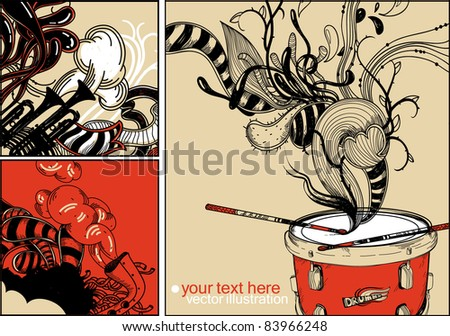 vector set of 3 hand drawn cards with a red drum, trumpets and abstract plants