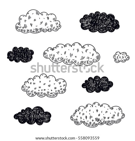 Vector set of hand drawn clouds. Doodle, black and white, isolated