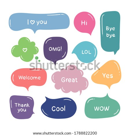 Vector set of hand drawn color think and talk speech bubbles with message, greetings and dialog. Stickers. Isolated