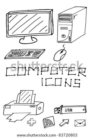 Vector set of hand drawn computer icons