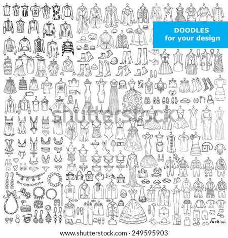 Vector set of hand drawn doodles of fashionable clothes and accessories  for men, women and children. Sketches for use in design