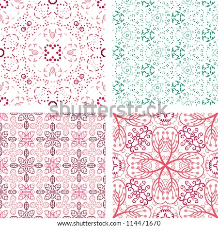 vector set of hand drawn floral pattern background