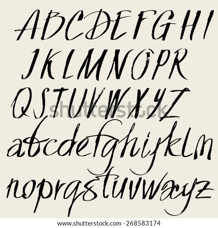 Vector Set Of Hand Drawn Font Alphabet Of The Calligraphy