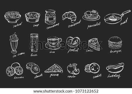 Vector set of hand drawn food and drinks on black chalkboard. Salad, soup, canned cucumbers, sweet desserts, fast food, fruits and beverages