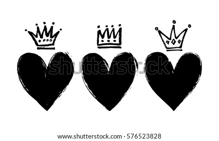 vector set of hand drawn hearts