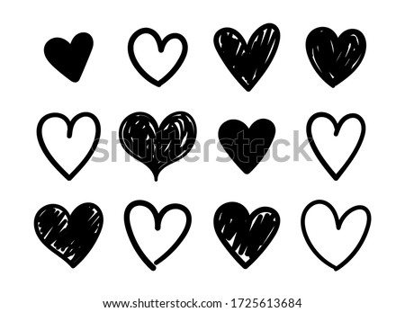 Vector set of hand drawn hearts on a white background.