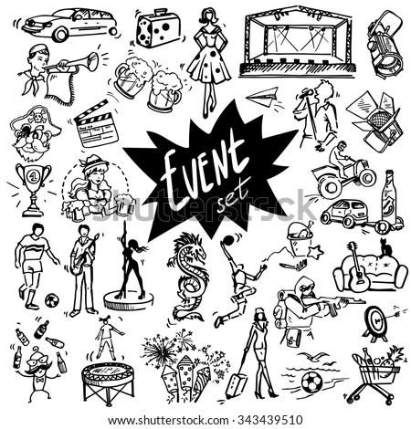 vector set of hand drawn icons