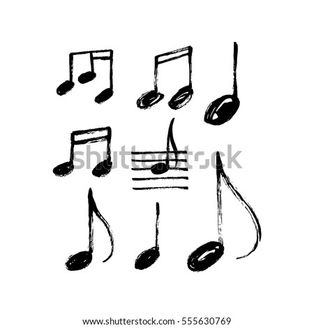 vector set of hand drawn music