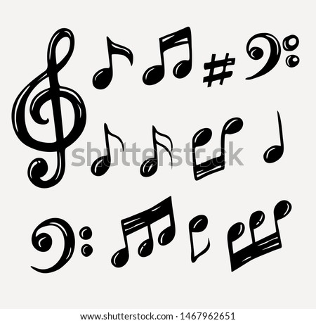 Vector set of hand drawn music notes, vector illustration Photo stock ©