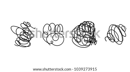 Vector set of hand drawn scribble line shapes. . Set of hand drawn scribble symbols isolated on white. Doodle style sketches. Shaded and hatched badges and bubble shapes. Vector