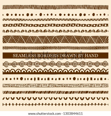 Vector set of hand drawn seamless borders made with ink. Freehand textures for fabric, polygraphy, web design. #1303844611