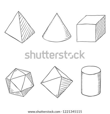 Vector Set of Hand Drawn Sketch Geometry Shapes
