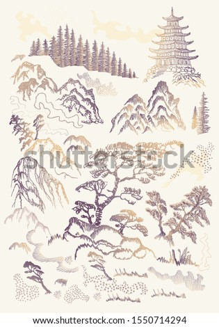 Vector set of hand drawn sketches in Japanese and Chinese nature ink illustration sumi-e tradition. Textured fir pine tree, pagoda temple, mountain, river, pond, grass, rock on a beige background