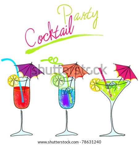 Vector set of hand drawn style cute cocktail glasses illustration