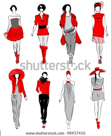 Vector set of hand drawn style elegant, stylized fashion models illustration