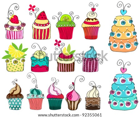 Vector set of hand drawn style illustrations of cute retro cupcakes