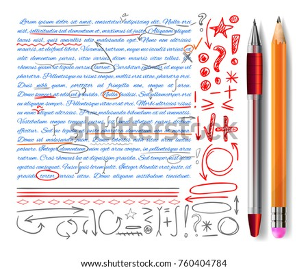 VECTOR set of hand-drawn text correction and highlighting elements.