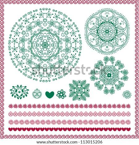 vector set of hand drawn vintage floral pattern