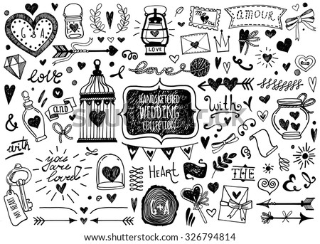 Vector set of hand-drawn Wedding elements. Set of Ornamental Wedding Style Elements. Arrows, heart, text, ribbon, beautiful bottles, catchwords and other elements.