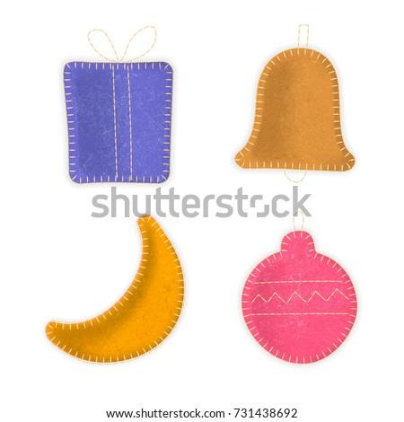 vector set of hand made sewn