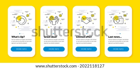 Vector set of Handshake, Recovery data and Hold t-shirt line icons set. UI phone app screens with line icons. Love tickets icon. Deal hand, Backup info, Laundry shirt. Valentine day. Vector Photo stock ©