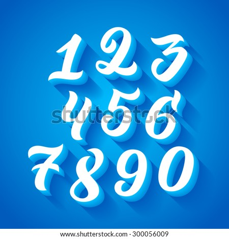 Vector set of handwritten numbers, handmade calligraphy in 3D with shadow