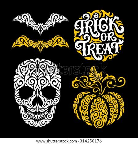 vector set of happy halloween