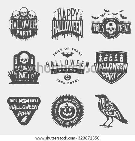vector set of happy halloween