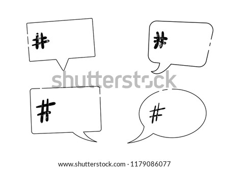 Vector set of hashtag signs on speech bubble with empty space for text. Element for social media networks.