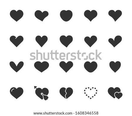 Vector set of heart flat icons. Pixel perfect, scalable 24, 48, 96 pixels.