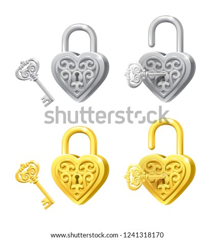 vector set of heart locks and
