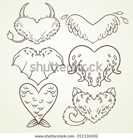 vector set of hearts in the