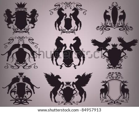vector set of heraldic shields