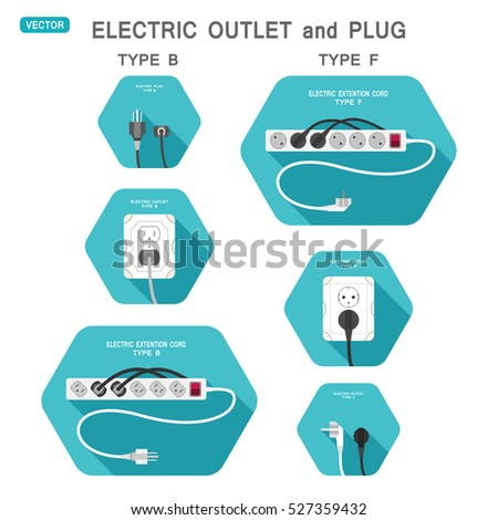 Vector set of hexagon isolated icons outlet and plug types B and F on the turquoise background.