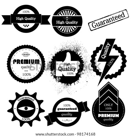 Vector set of high quality or retro  guaranteed label