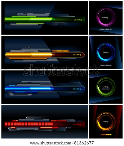 Vector set of high-tech progress indicators.